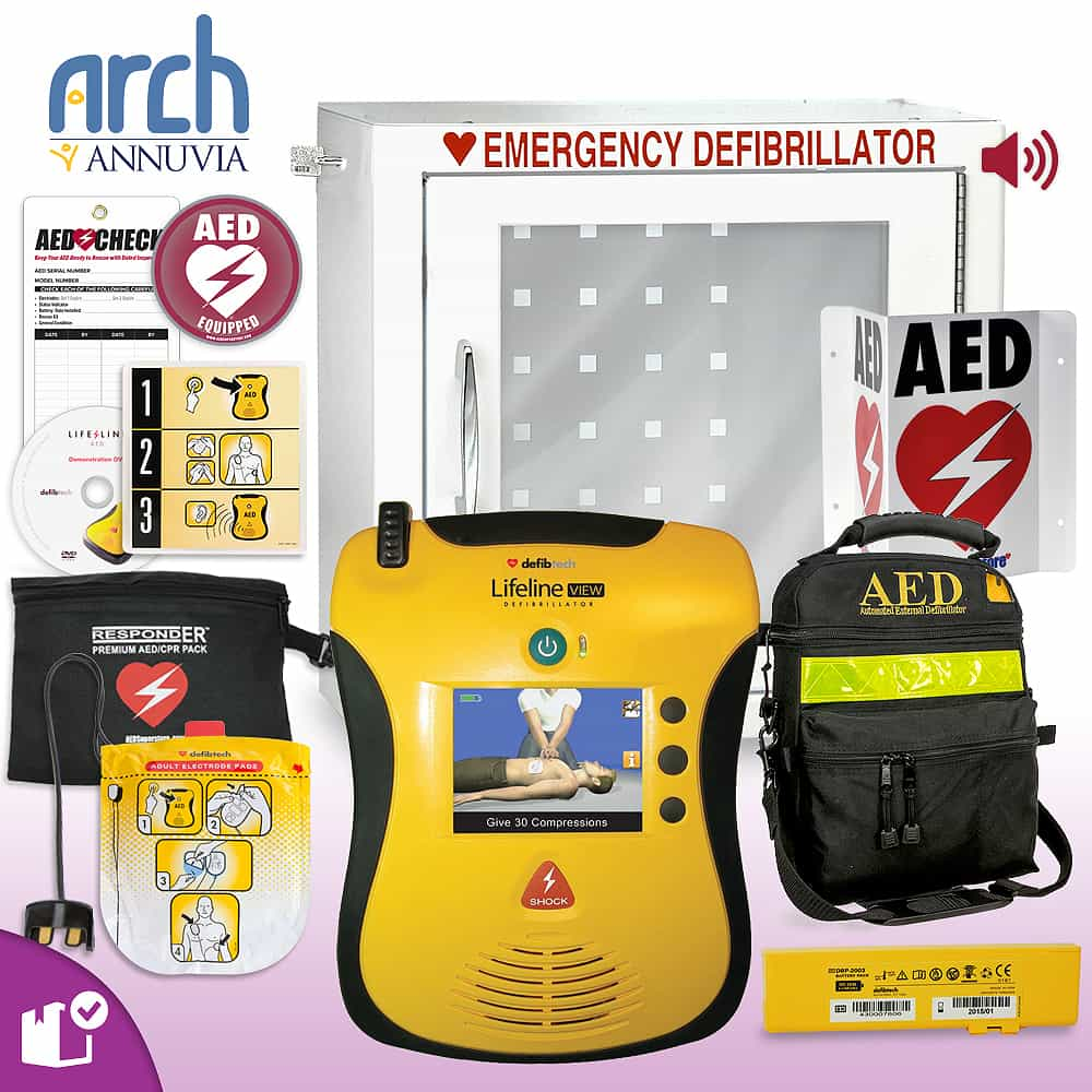 Defibtech Lifeline VIEW/ECG AED Complete Value Package Alarm Cabinet