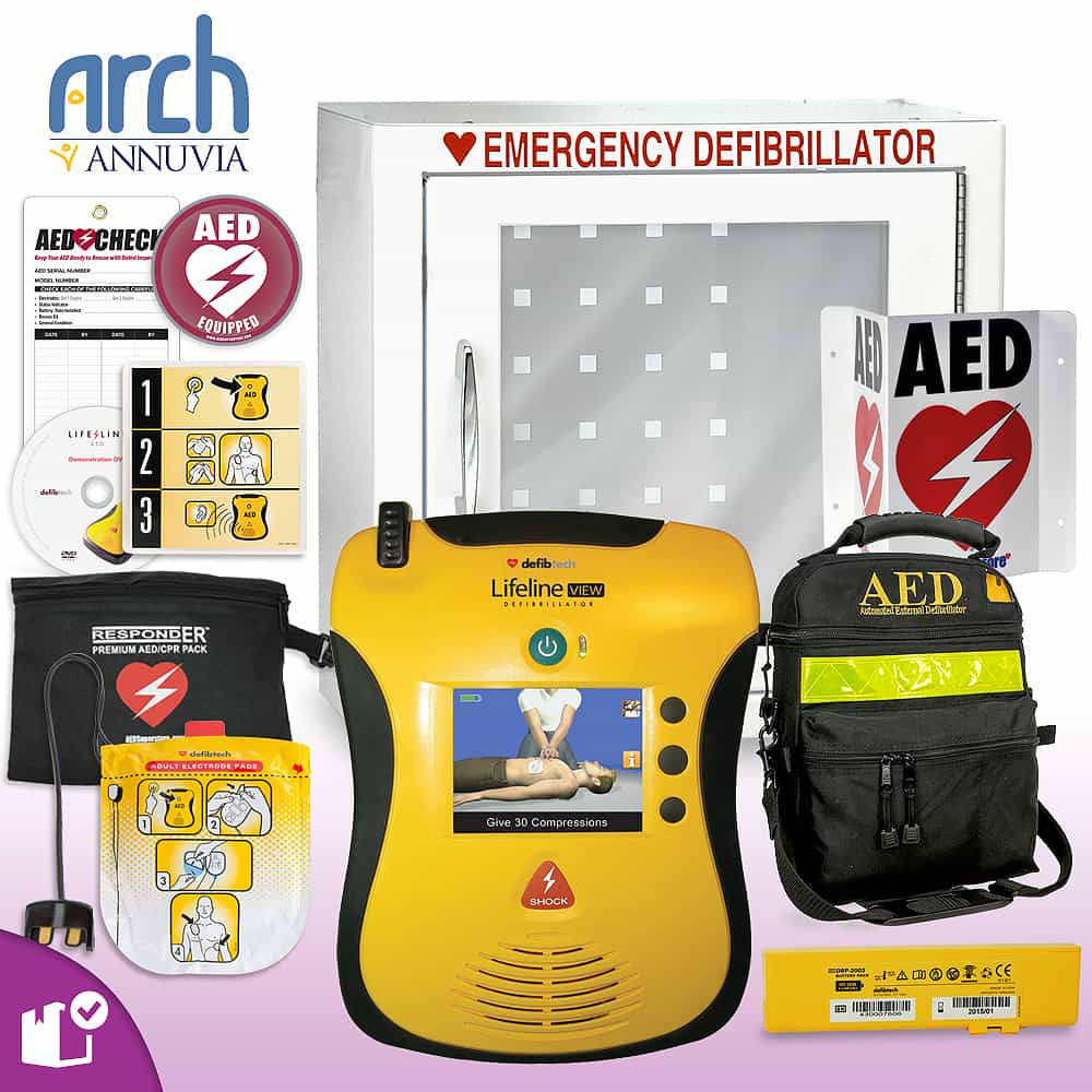 Defibtech Lifeline VIEW/ECG AED Complete Value Package Basic Cabinet