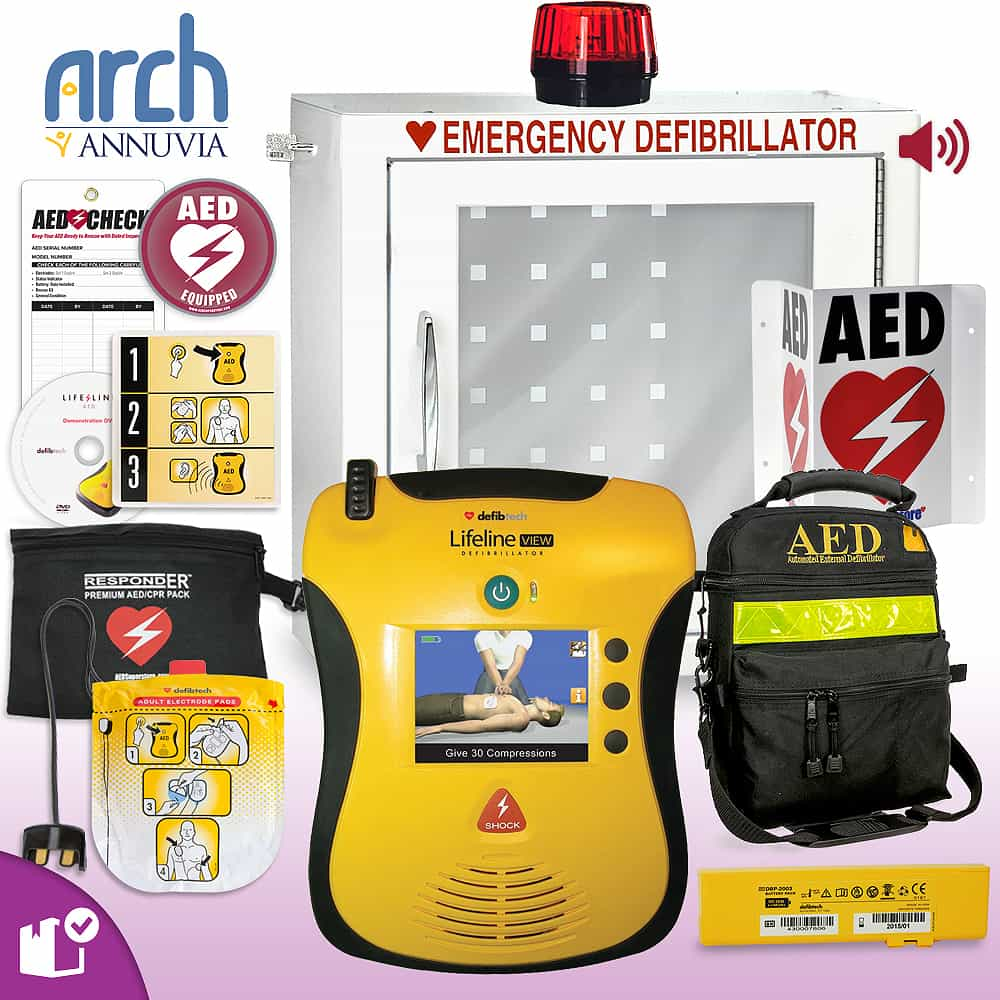Defibtech Lifeline VIEW/ECG AED Complete Value Package Strobe and Alarm Cabinet