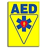 AED Flat Wall Sign (Yellow) - Large