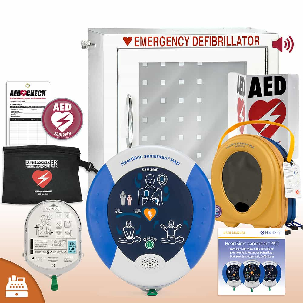 HeartSine Samaritan PAD 450P AED Small Business Value Package Alarm Cabinet