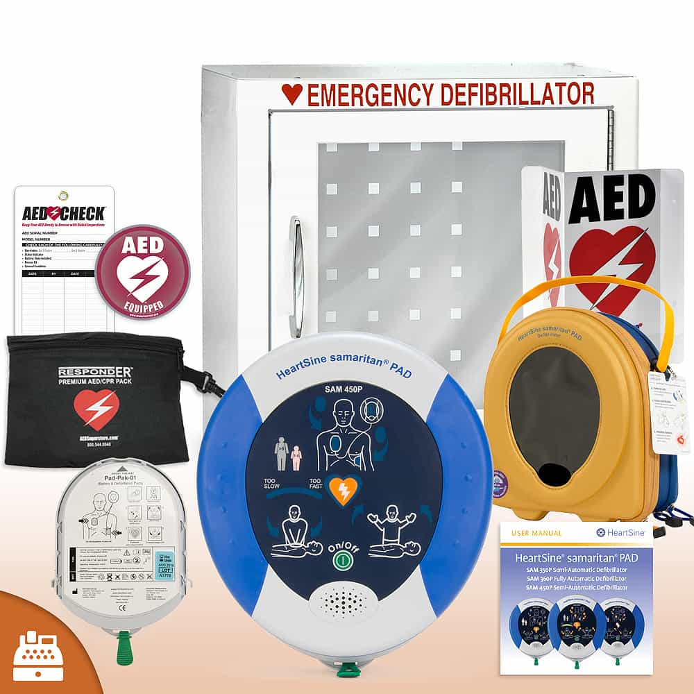 HeartSine Samaritan PAD 450P AED Small Business Value Package Basic Cabinet