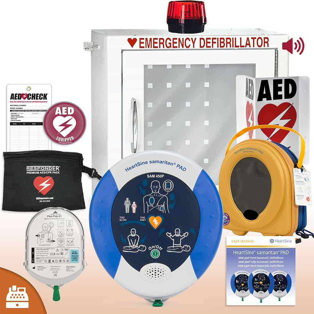 HeartSine Samaritan PAD 450P AED Small Business Value Package Strobe and Alarm Cabinet
