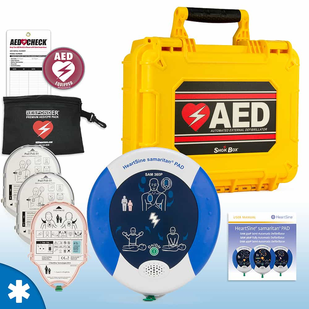 HeartSine Samaritan PAD AED Mobile Responder Value Package Fully Automatic