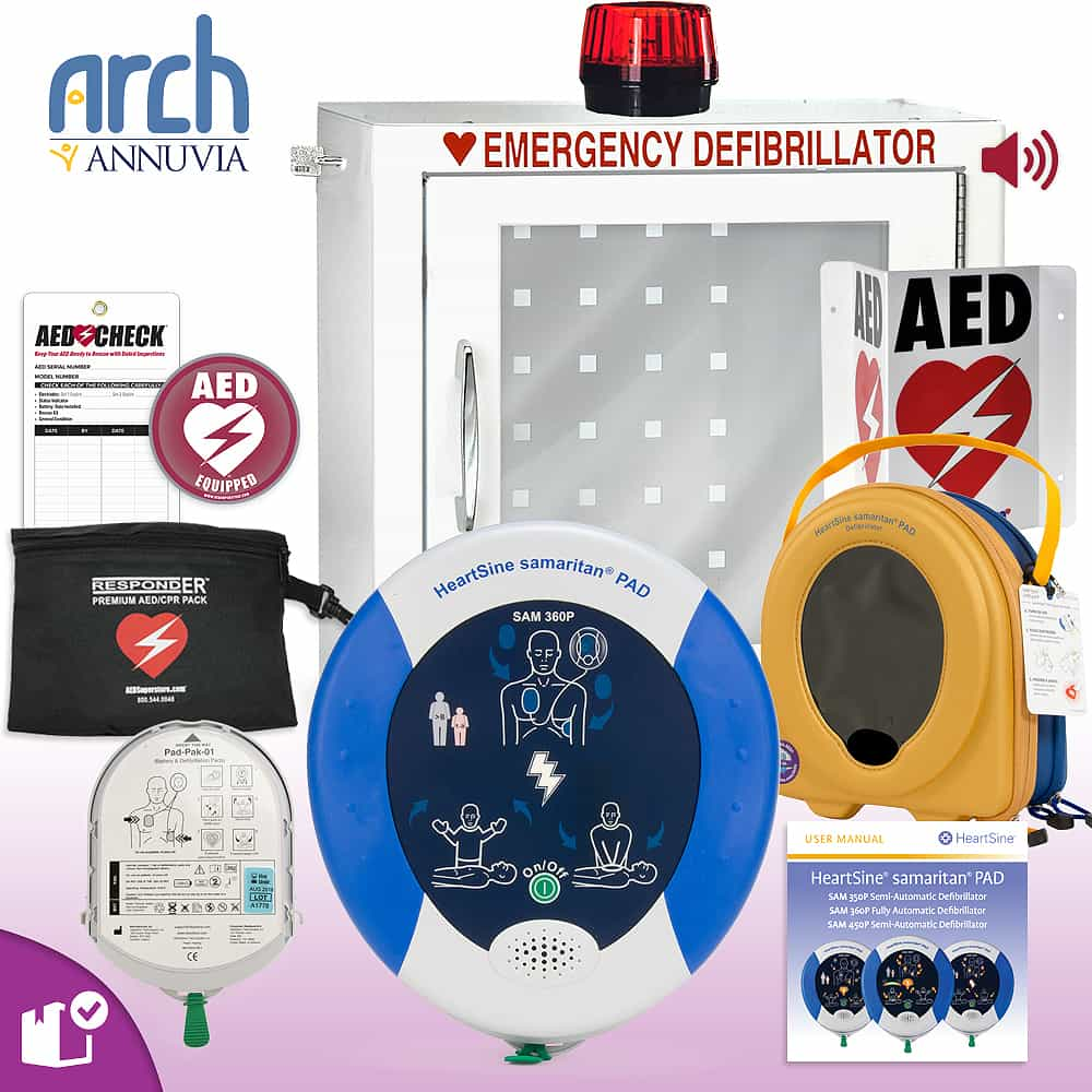 HeartSine samaritan PAD AED Complete Value Package Strobe and Alarm Cabinet