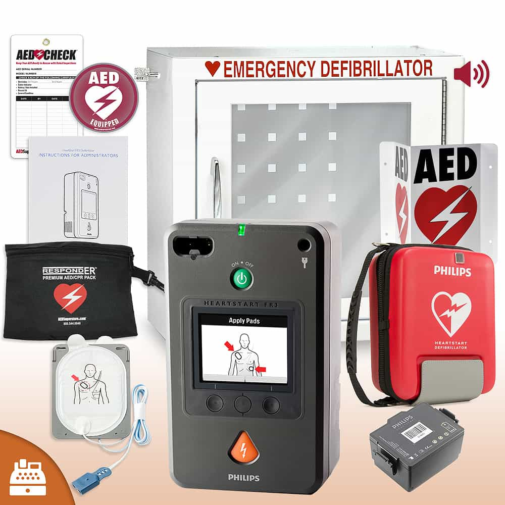 Philips HeartStart FR3 AED Small Business Value Package Alarm Cabinet