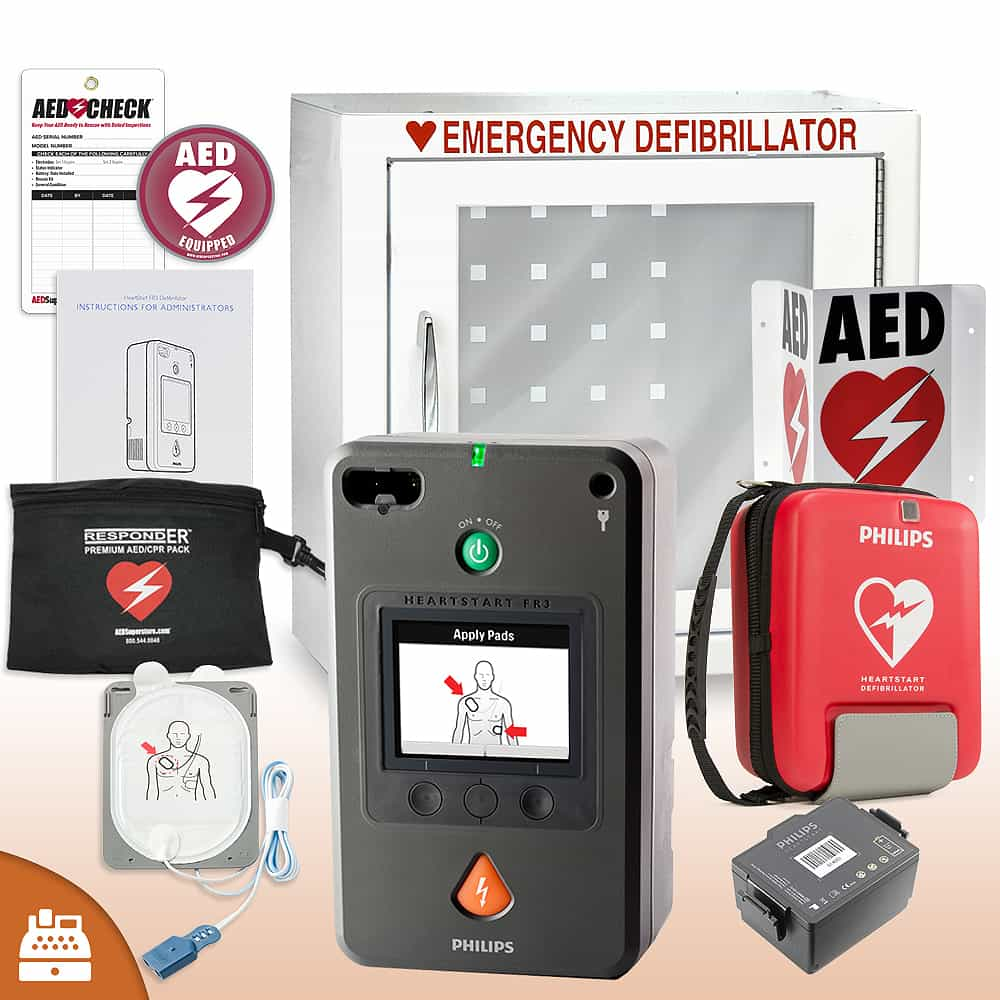 Philips HeartStart FR3 AED Small Business Value Package Basic Cabinet