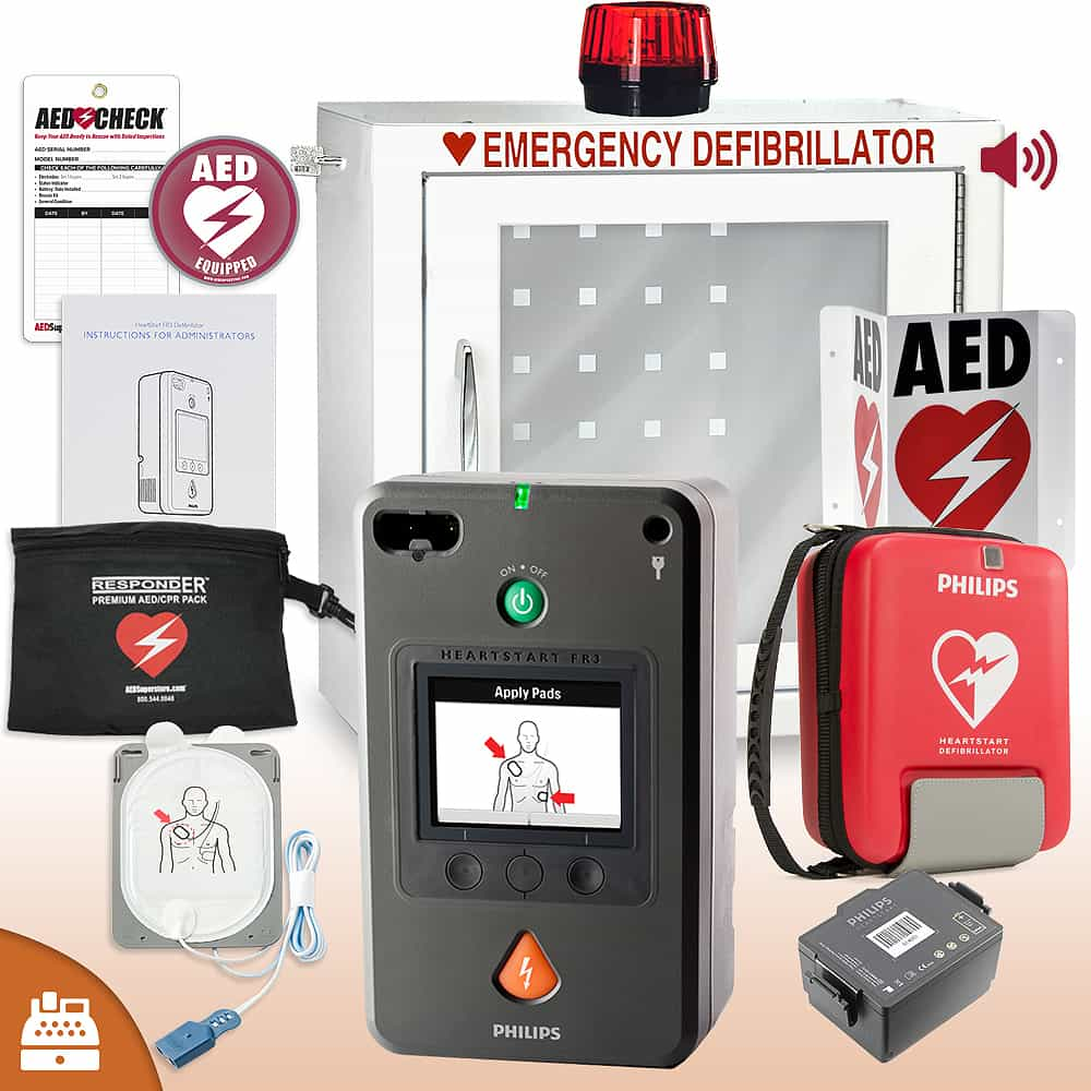 Philips HeartStart FR3 AED Small Business Value Package Strobe and Alarm Cabinet