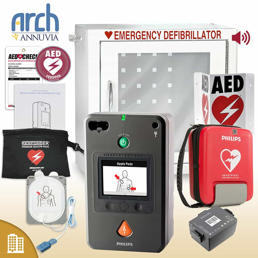 Philips HeartStart FR3 AED Corporate Value Package Alarm Cabinet