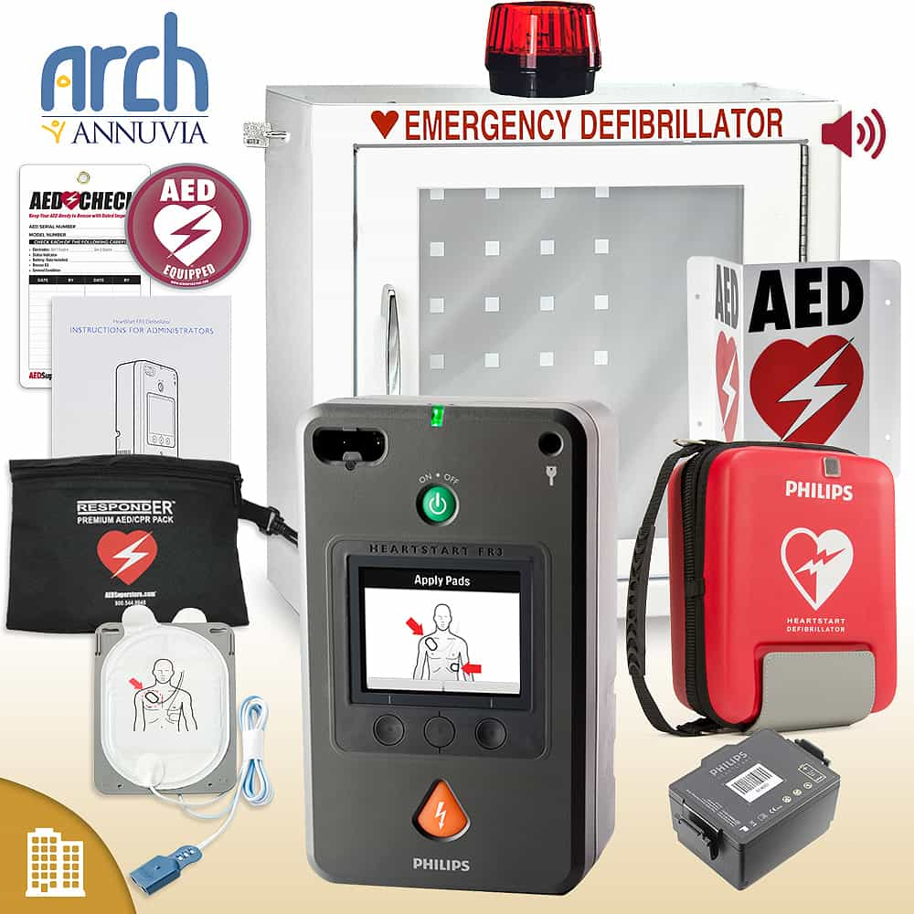 Philips HeartStart FR3 AED Corporate Value Package Strobe and Alarm Cabinet
