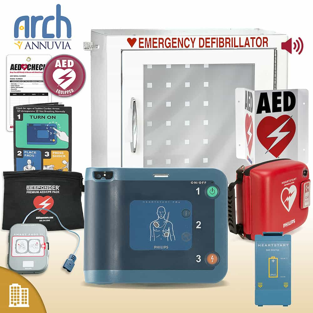 Philips HeartStart FRx AED Corporate Value Package (Includes RespondER® Premium Items) Alarm Cabinet