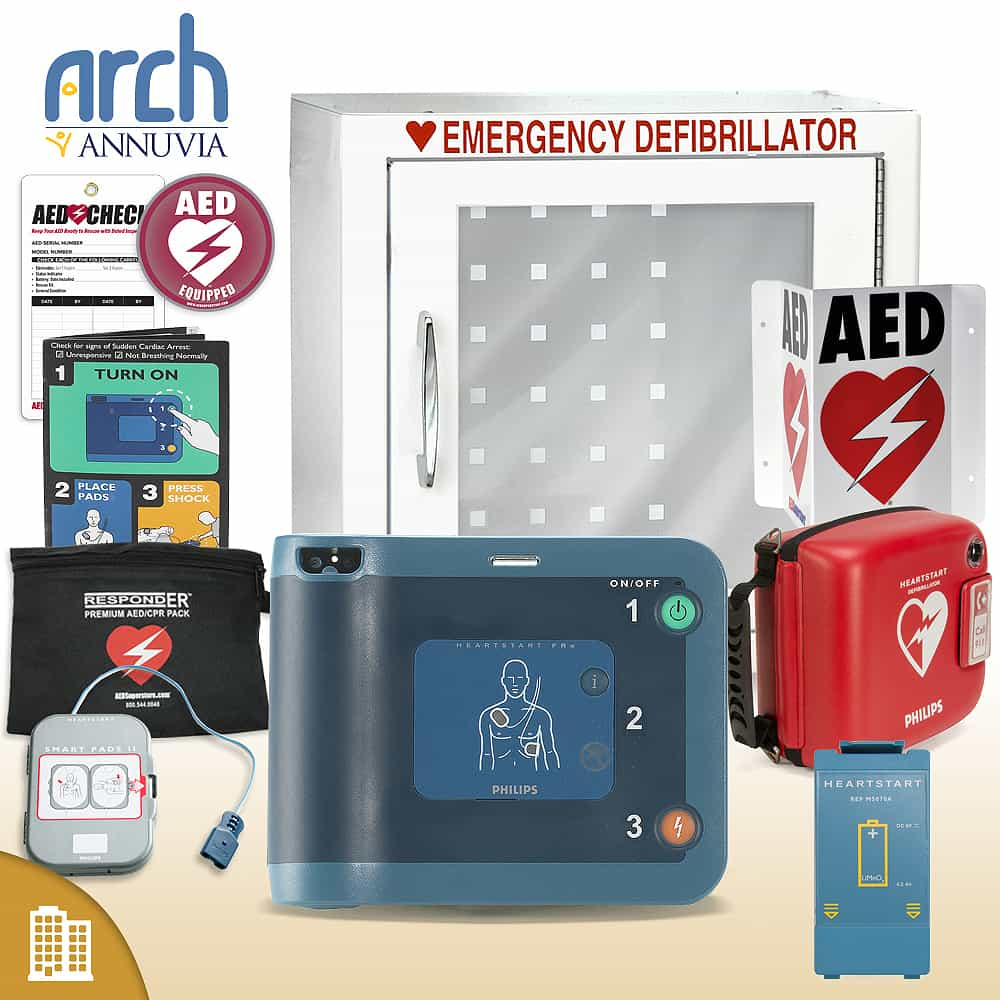 Philips HeartStart FRx AED Corporate Value Package (Includes RespondER® Premium Items) Basic Cabinet
