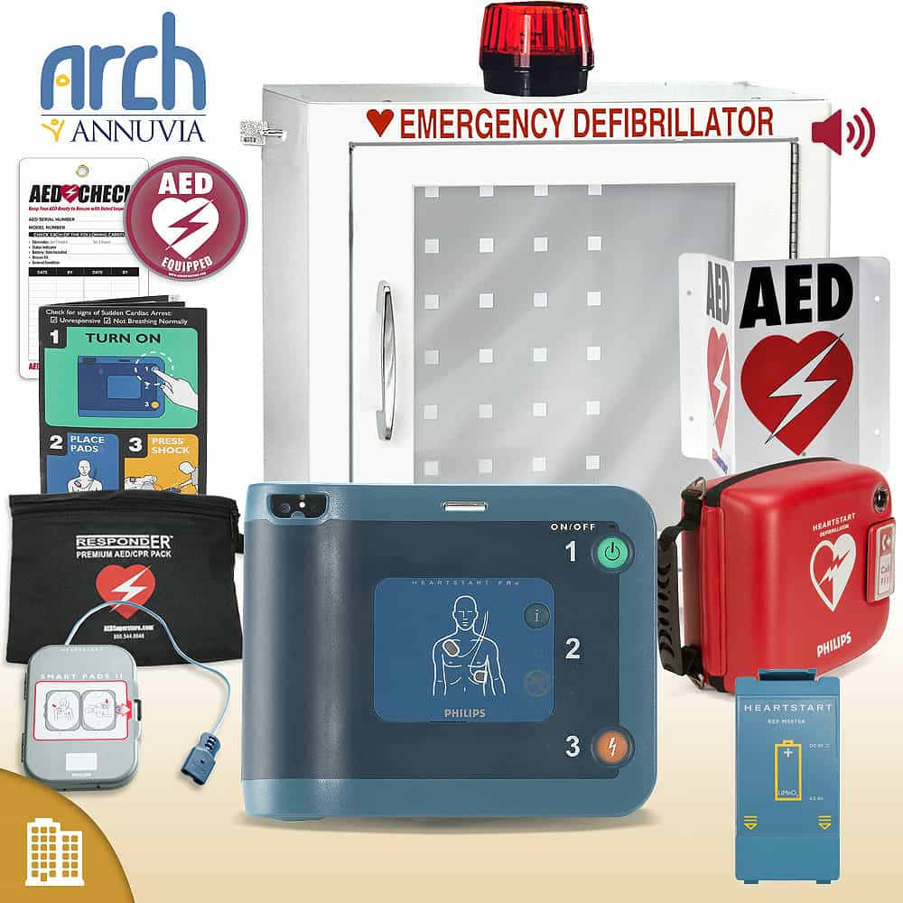 Philips HeartStart FRx AED Corporate Value Package (Includes RespondER® Premium Items) Strobe and Alarm Cabinet