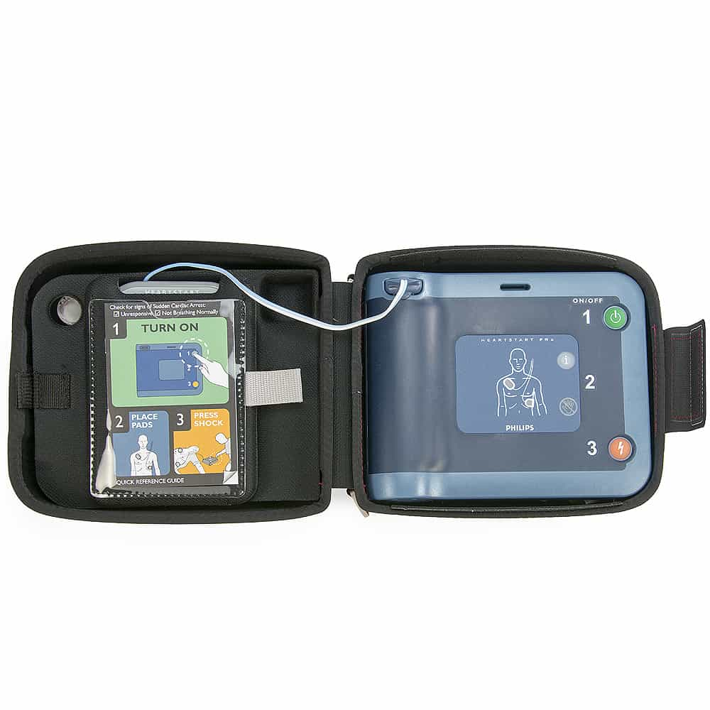 Philips HeartStart FRx AED w/Semi Rigid Carry Case Open