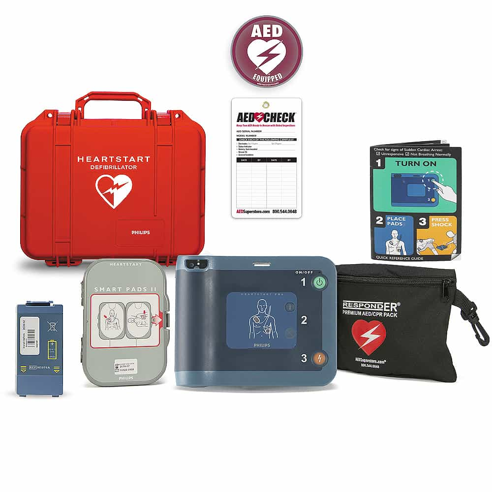 Philips HeartStart FRx AED w/Included Items, Waterproof Hard Carry Case