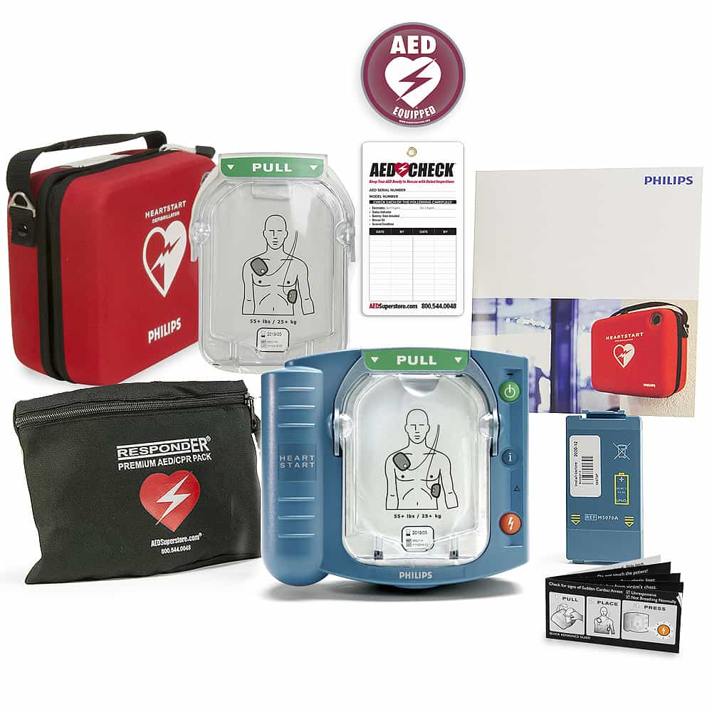 Philips HeartStart OnSite AED w/Included Items, Ready-Pack (Spare Pads/Standard Case)