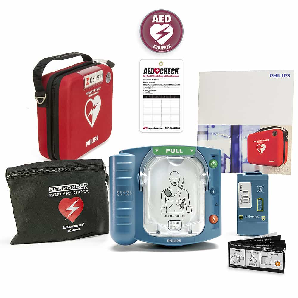 Philips HeartStart OnSite AED w/Included Items, Slim Carry Case