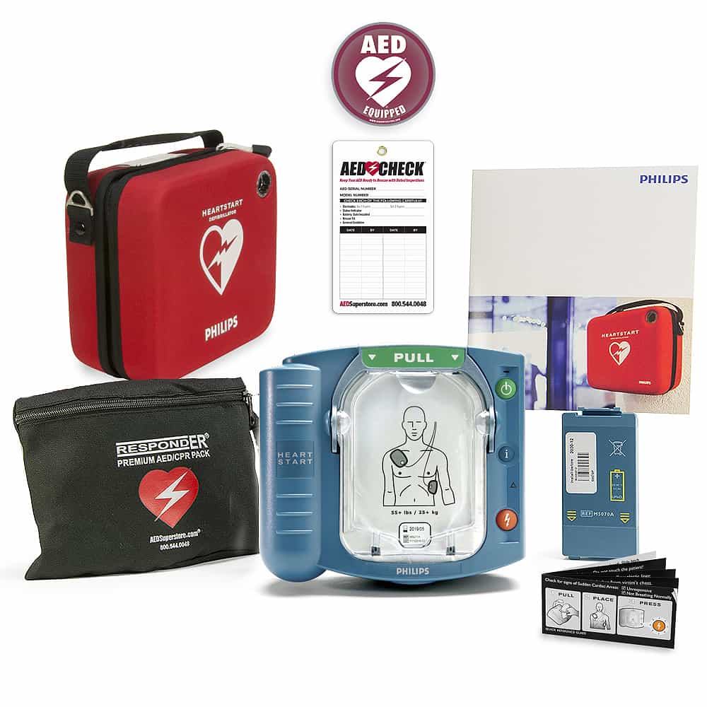 Philips HeartStart OnSite AED w/Included Items, Standard Carry Case