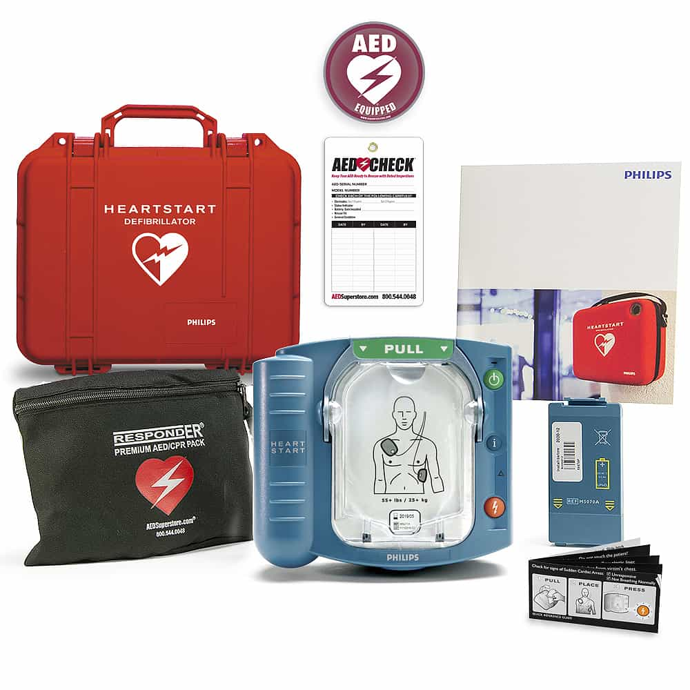 Philips HeartStart OnSite AED w/Included Items, Watertight Hard Carry Case