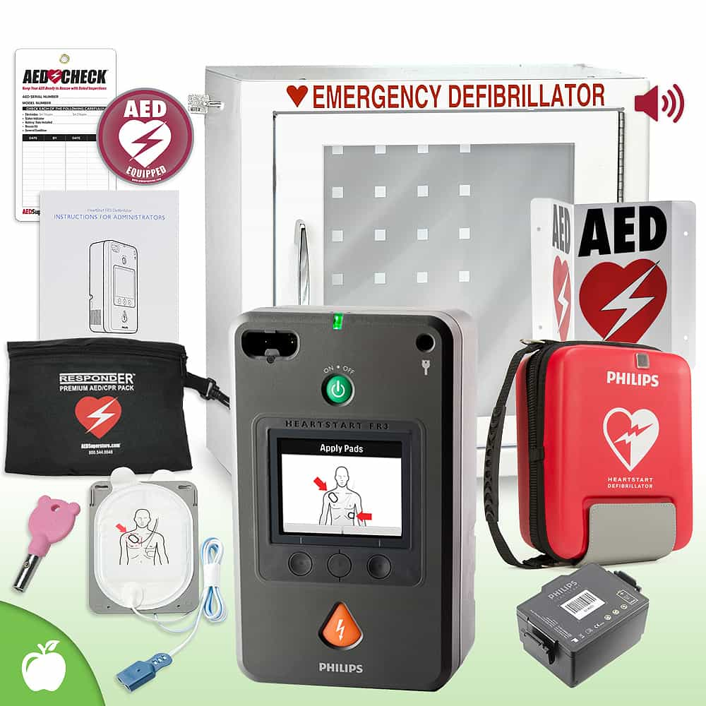 Philips HeartStart FR3 AED School & Community Value Package Alarm Cabinet