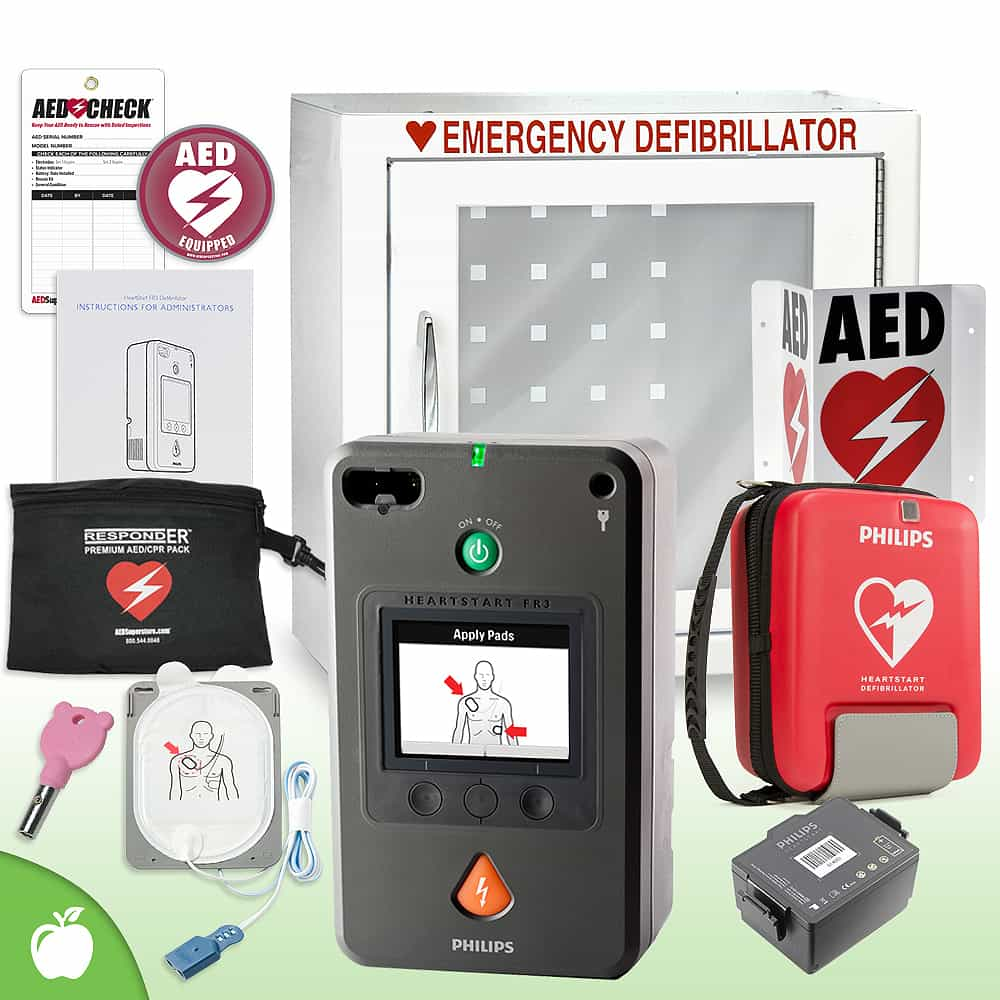 Philips HeartStart FR3 AED School & Community Value Package Basic Cabinet