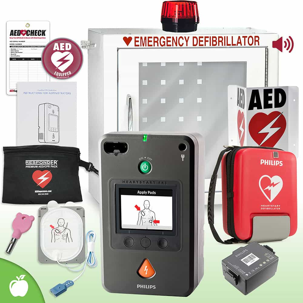 Philips HeartStart FR3 AED School & Community Value Package Strobe and Alarm Cabinet
