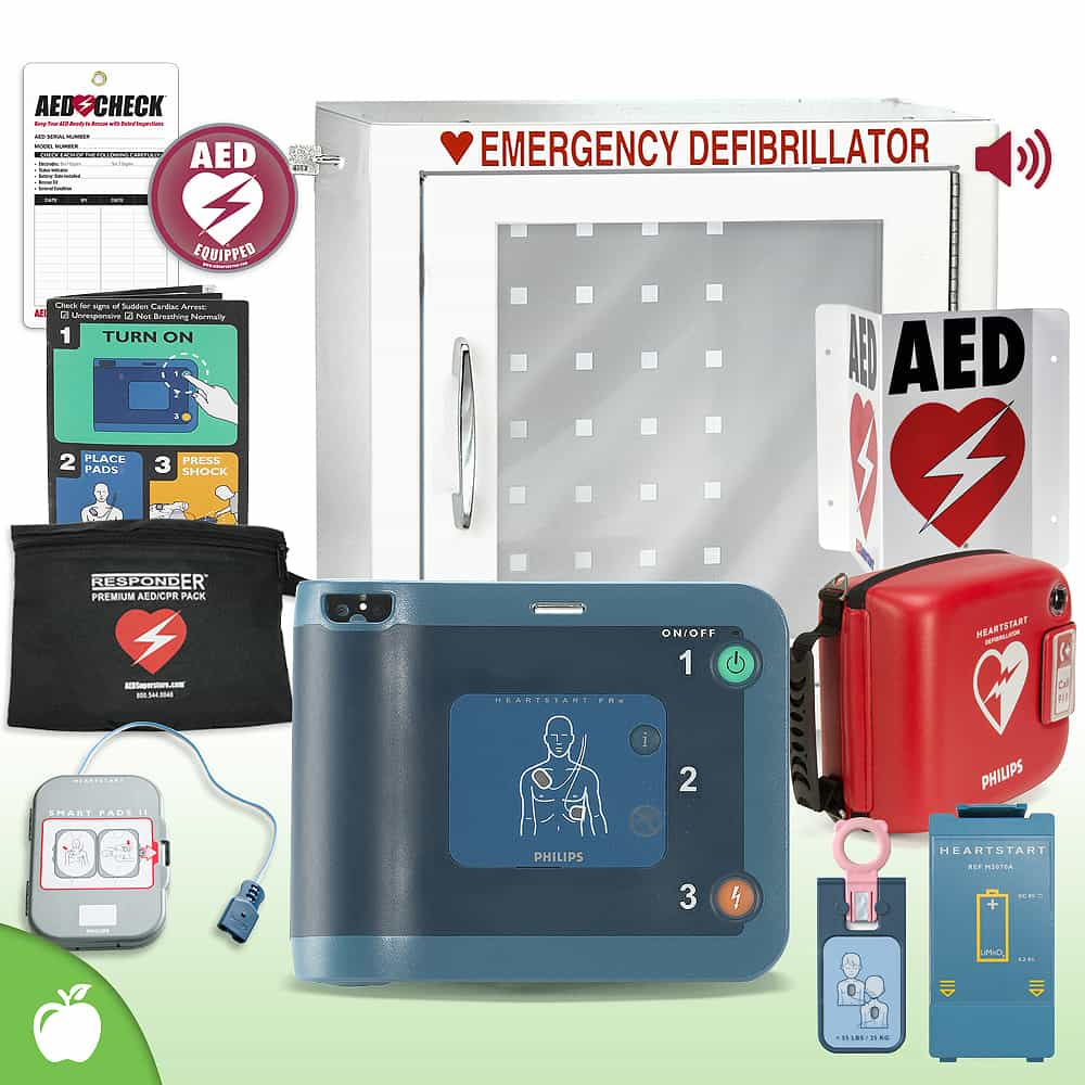 Philips HeartStart FRx AED School & Community Value Package (Includes RespondER® Premium Items) Alarm Cabinet