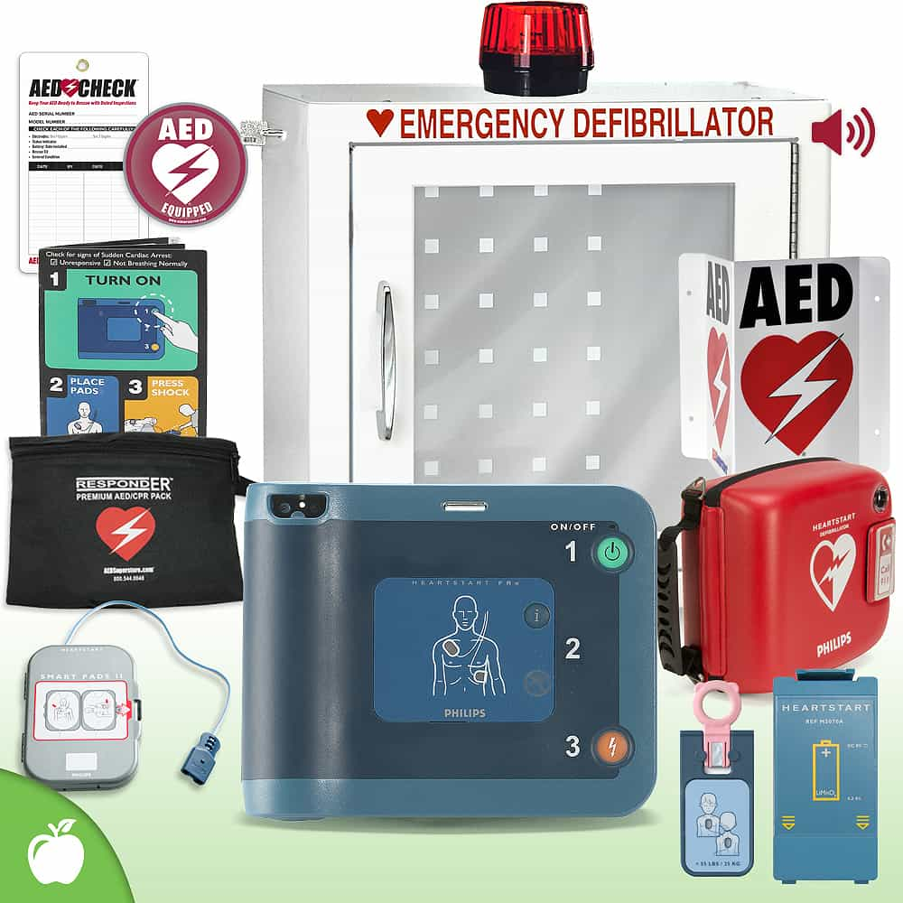 Philips HeartStart FRx AED School & Community Value Package (Includes RespondER® Premium Items) Strobe and Alarm Cabinet