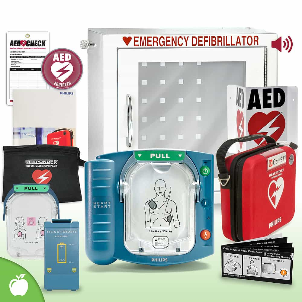 Philips HeartStart OnSite AED School & Community Value Package (Includes RespondER® Premium Items) Alarm Cabinet
