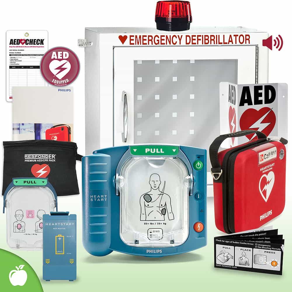 Philips HeartStart OnSite AED School & Community Value Package (Includes RespondER® Premium Items) Strobe and Alarm Cabinet