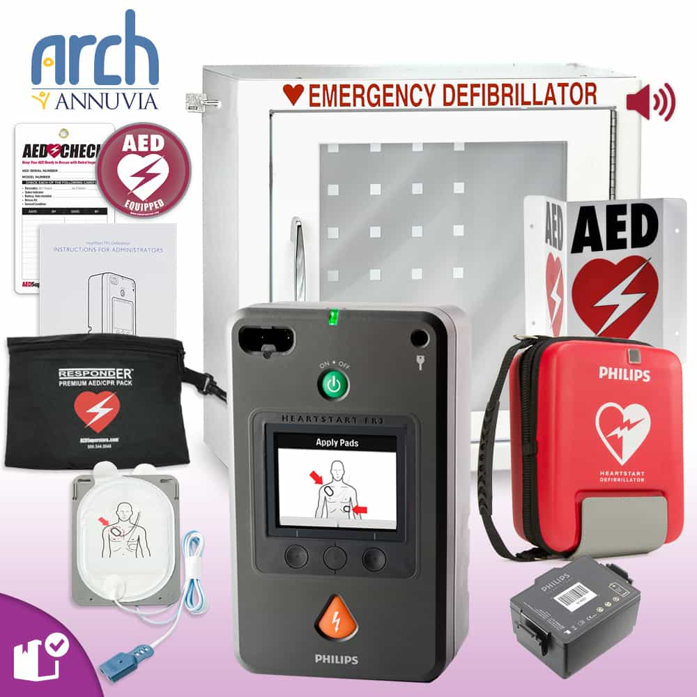 Philips HeartStart FR3 AED Complete Value Package Alarm Cabinet