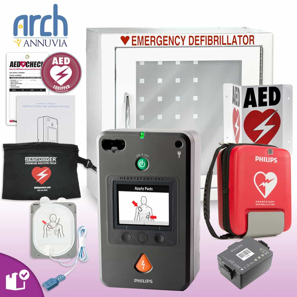 Philips HeartStart FR3 AED Complete Value Package Basic Cabinet