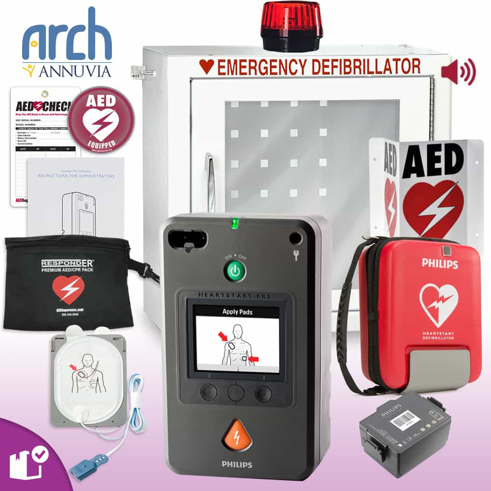 Philips HeartStart FR3 AED Complete Value Package Strobe and Alarm Cabinet