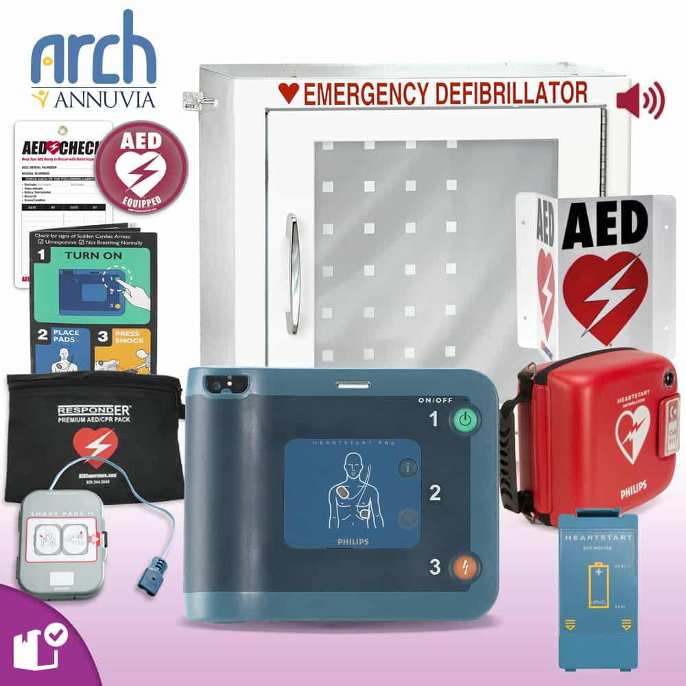 Philips HeartStart FRx AED Complete Value Package (Includes RespondER® Premium Items) Alarm Cabinet