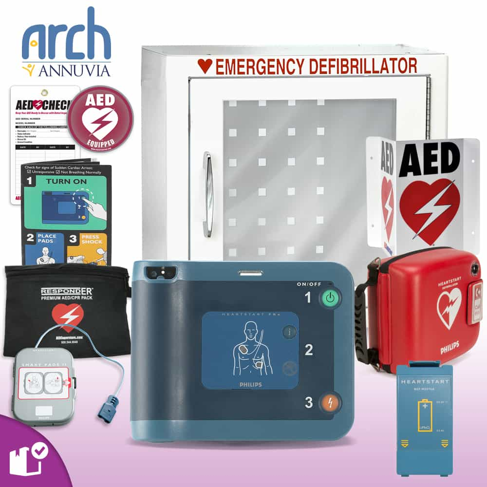 Philips HeartStart FRx AED Complete Value Package (Includes RespondER® Premium Items) Basic Cabinet