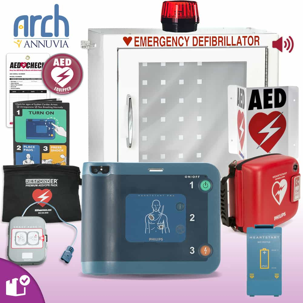 Philips HeartStart FRx AED Complete Value Package (Includes RespondER® Premium Items) Strobe and Alarm Cabinet