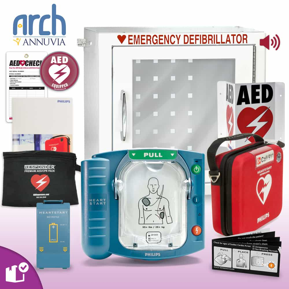 Philips OnSite AED Complete Value Package (Includes RespondER® Premium Items) Alarm Cabinet