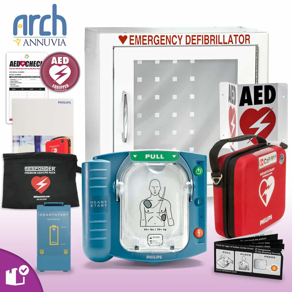Philips OnSite AED Complete Value Package (Includes RespondER® Premium Items) Basic Cabinet