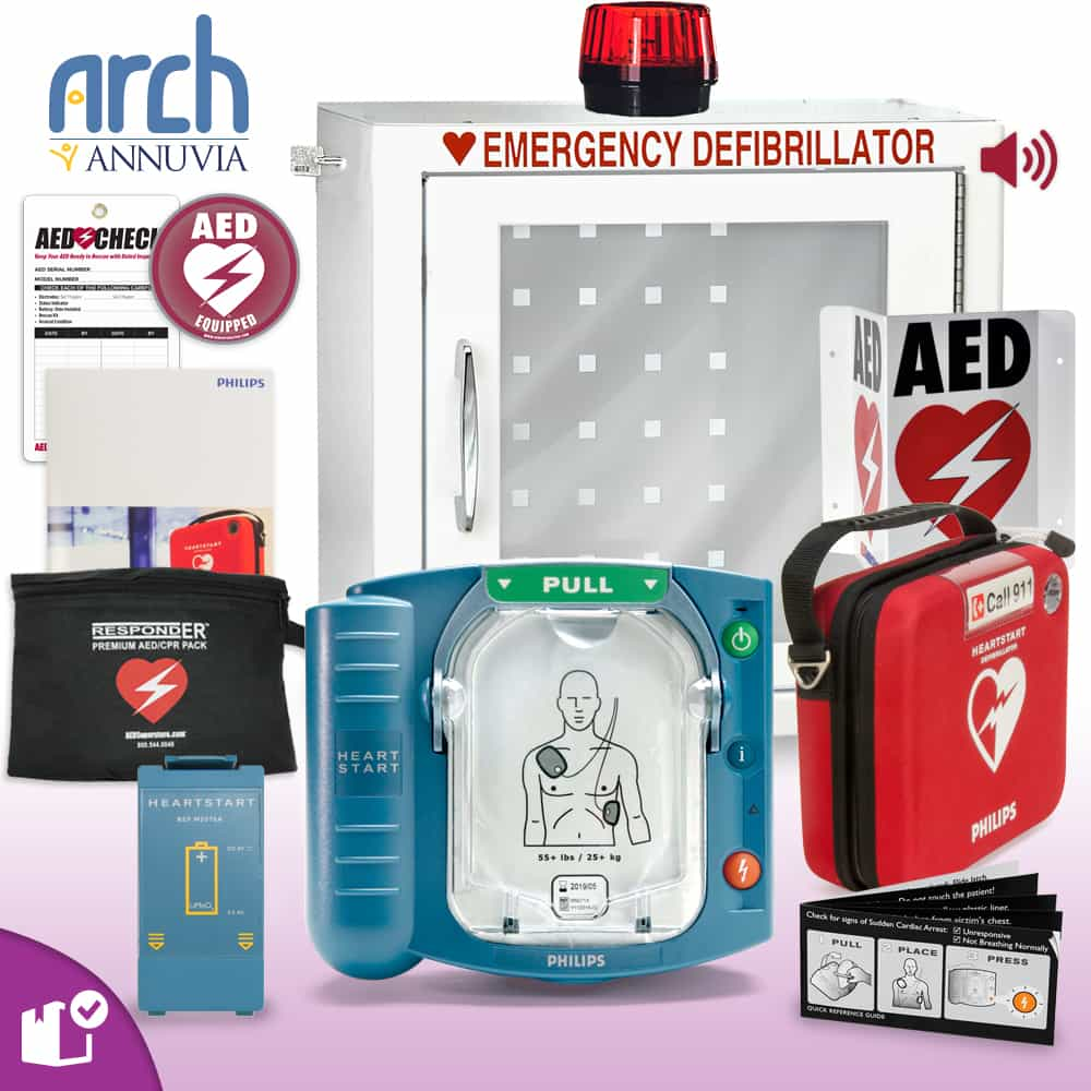 Philips OnSite AED Complete Value Package (Includes RespondER® Premium Items) Strobe and Alarm Cabinet