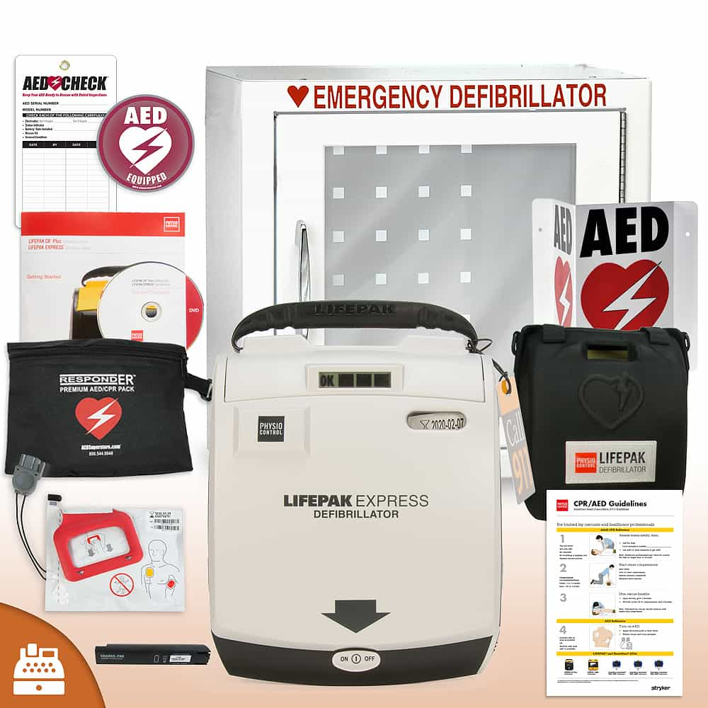 Physio-Control LIFEPAK EXPRESS AED Small Business Value Package Basic Cabinet