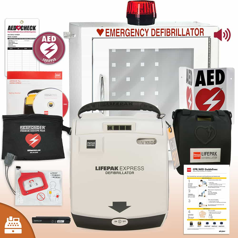 Physio-Control LIFEPAK EXPRESS AED Small Business Value Package Strobe and Alarm Cabinet