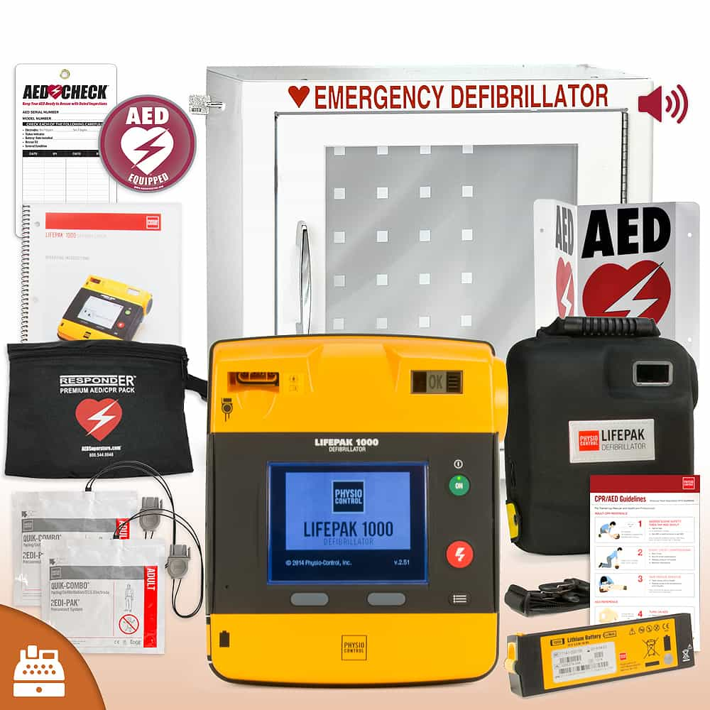 Physio-Control LifePAK 1000 AED Small Business Value Package Alarm Cabinet