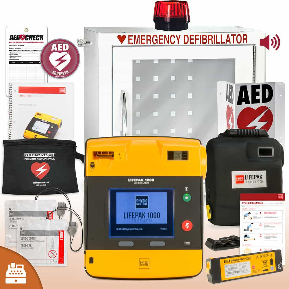 Physio-Control LifePAK 1000 AED Small Business Value Package Strobe and Alarm Cabinet