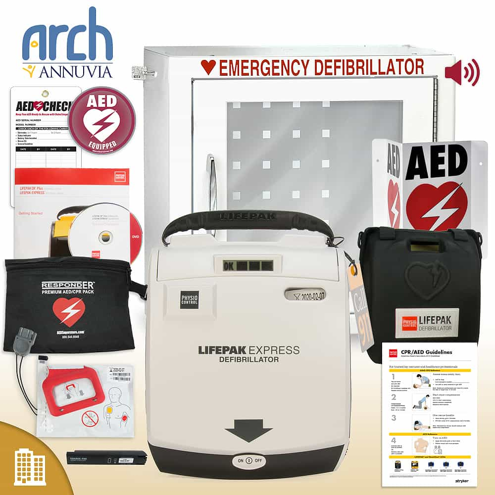 Physio-Control LIFEPAK EXPRESS AED Corporate Value Package Alarm Cabinet