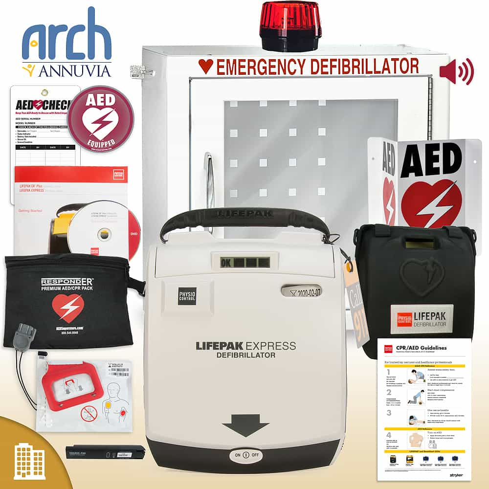 Physio-Control LIFEPAK EXPRESS AED Corporate Value Package Strobe and Alarm Cabinet