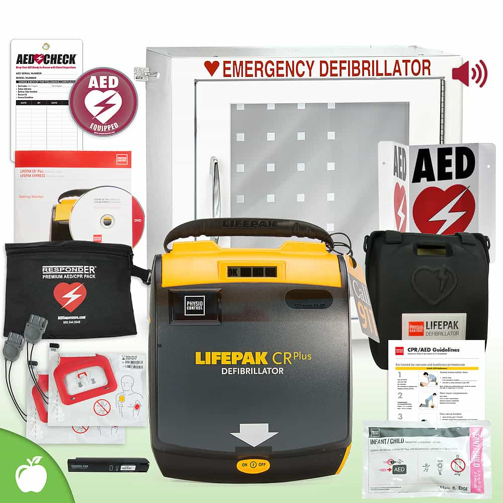Physio-Control LIFEPAK CR Plus AED School & Community Value Package Alarm Cabinet
