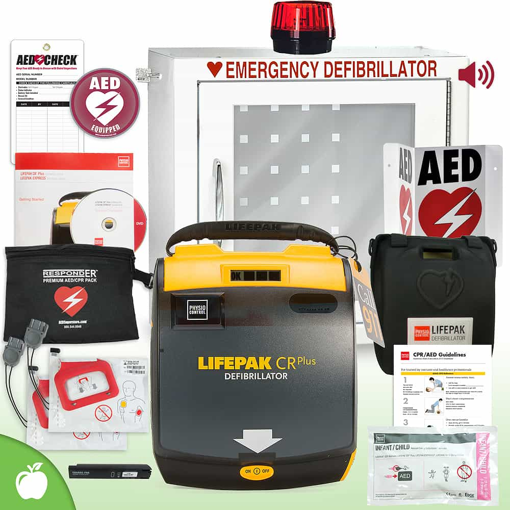 Physio-Control LIFEPAK CR Plus AED School & Community Value Package Strobe and Alarm Cabinet
