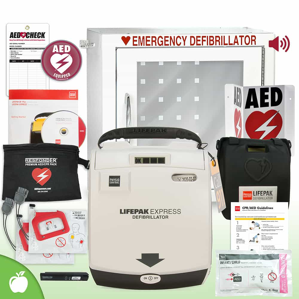 Physio-Control LIFEPAK EXPRESS AED School & Community Value Package Alarm Cabinet