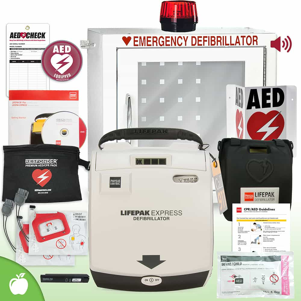 Physio-Control LIFEPAK EXPRESS AED School & Community Value Package Strobe and Alarm Cabinet