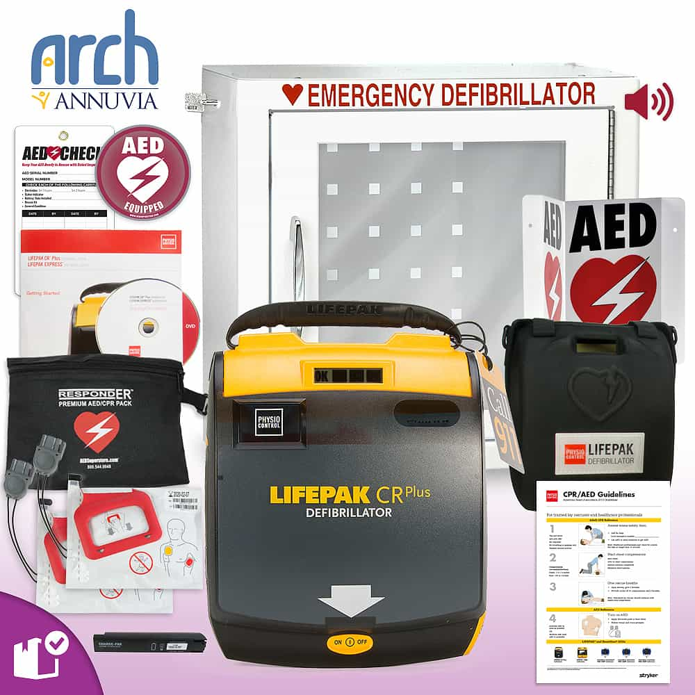 Physio-Control LIFEPAK CR Plus AED Complete Value Package Alarm Cabinet